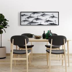 Framed 16 x 48 - Gray school of fish 1