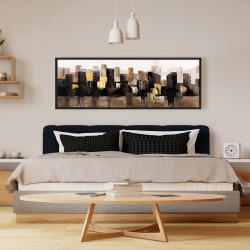 Framed 16 x 48 - Earthy tones abstract cityscape