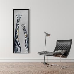Framed 16 x 48 - Steel blue giraffe
