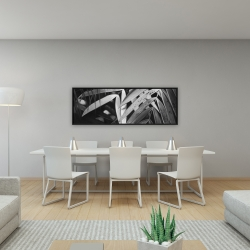 Framed 16 x 48 - Monochrome tropicals leaves
