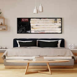 Framed 16 x 48 - Wooden pallets looking art with numbers