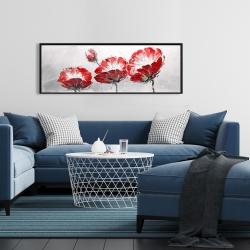 Framed 16 x 48 - Wild flowers on gray background