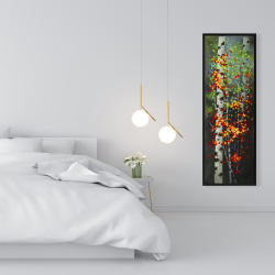 Framed 16 x 48 - Colorful dotted leaves birches