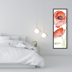 Framed 16 x 48 - Watercolor poppies