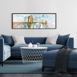 Framed 16 x 48 - Gold brooklyn bridge