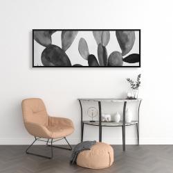 Framed 16 x 48 - Grayscale cactus