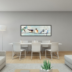 Framed 16 x 48 - Small colorful birds