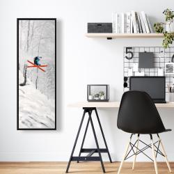 Framed 16 x 48 - Man skiing in steep offpiste terrain