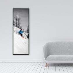 Framed 16 x 48 - Man skiing in mountain