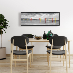 Framed 16 x 48 - Sailboats on the lake