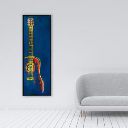 Framed 16 x 48 - Modern blue abstract guitar