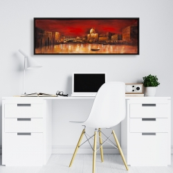 Framed 16 x 48 - City by red dawn