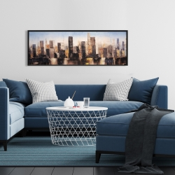 Framed 16 x 48 - Striped abstract buildings
