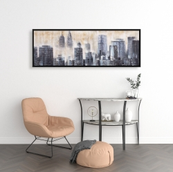 Framed 16 x 48 - Buildings through the clouds