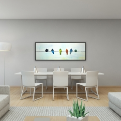 Framed 16 x 48 - Perched abstract birds