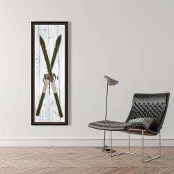 Framed 16 x 48 - Green vintage skis