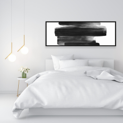 Framed 16 x 48 - Watercolor abstract stripes