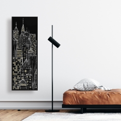 Framed 16 x 48 - Illustrative city towers