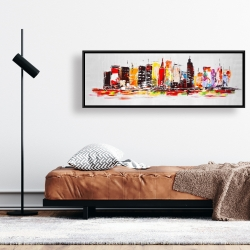Framed 16 x 48 - City in bright colors