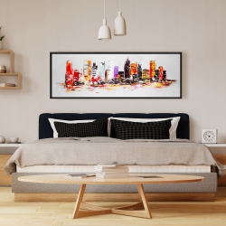Framed 16 x 48 - Abstract city in bright colors