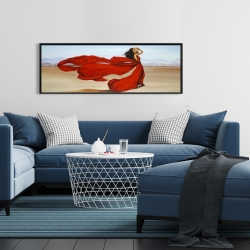 Framed 16 x 48 - Woman with a long red dress in the desert