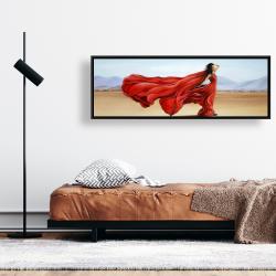 Framed 16 x 48 - Red dress in the desert