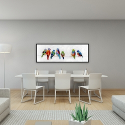 Framed 16 x 48 - Colorful birds on a wire