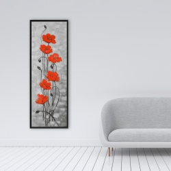 Framed 16 x 48 - Big red flowers