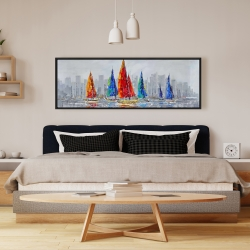 Framed 16 x 48 - Colorful boats near a gray city