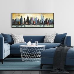 Framed 16 x 48 - Skyline on abstract cityscape