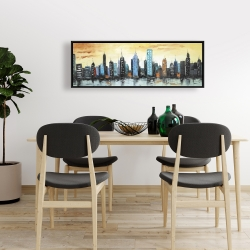 Framed 16 x 48 - Skyline on cityscape