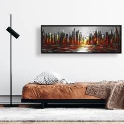 Framed 16 x 48 - Abstract red skyline