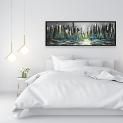 Framed 16 x 48 - Abstract blue skyline