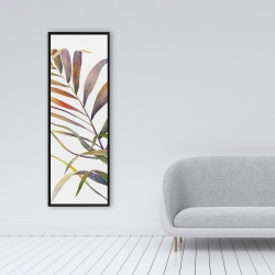 Framed 16 x 48 - Watercolor tropical palm leaves
