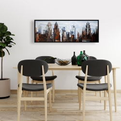 Framed 16 x 48 - Gray day in the city