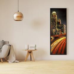 Framed 16 x 48 - Lively city by night