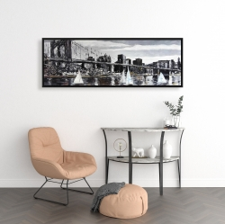 Framed 16 x 48 - Brooklyn bridge with sailboats