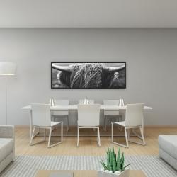 Framed 16 x 48 - Monochrome portrait highland cow
