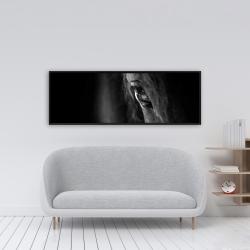 Framed 16 x 48 - Black horse