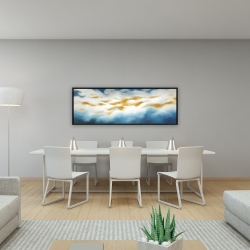 Framed 16 x 48 - Abstract clouds