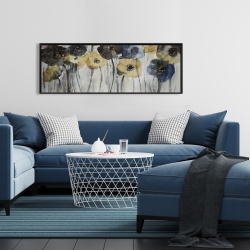 Framed 16 x 48 - Gray blue and yellow flowers