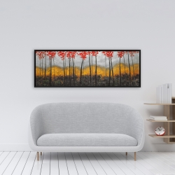 Framed 16 x 48 - Abstract autumn trees