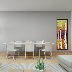 Framed 16 x 48 - Colored birches
