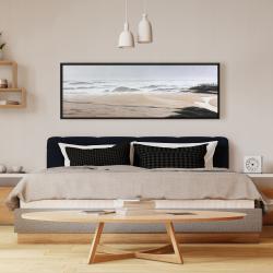 Framed 16 x 48 - Cloudy at the beach
