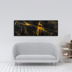 Framed 16 x 48 - Black and gold marble texture