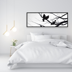 Framed 16 x 48 - Birds and branches silhouette
