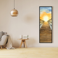 Framed 16 x 48 - Sunset in the sea