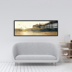 Framed 16 x 48 - Sunset at the beach
