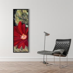 Framed 16 x 48 - Echinopsis red cactus flower