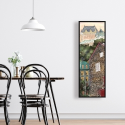 Framed 16 x 48 - Château frontenac in the petit champlain